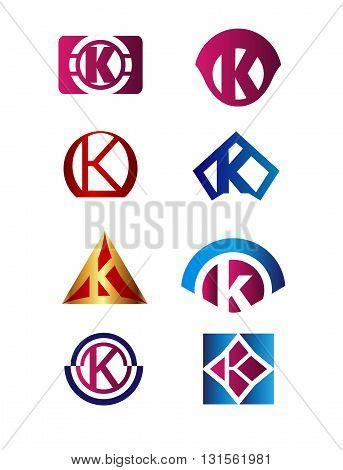 Set of letter K logo Branding Identity Corporate vector symbol design template