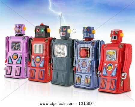 Colorful Gang Of Tin Toy Robots