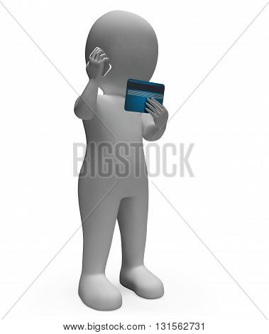 Credit Card Indicates Currency Spending And Render 3D Rendering