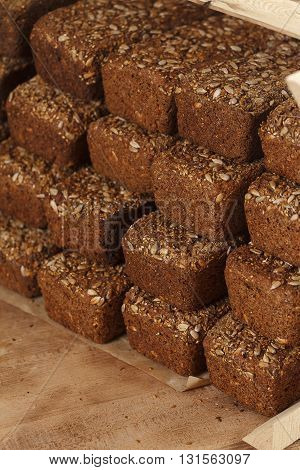 Baked Bread On Wooden Table Background