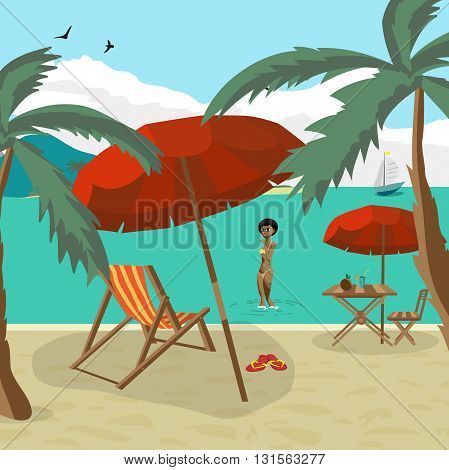 Sea landscape summer beach palm tree sun umbrellas beach beds. Black afro woman in yellow bikini out of the water onto the beach. Umbrella sun table cocktail coconut. Vector flat illustration
