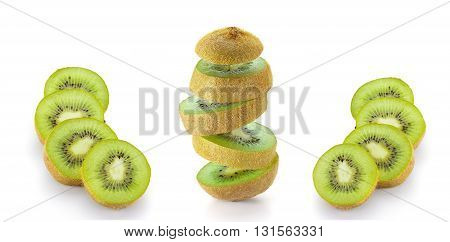Kiwi Fruit Sliced And Isolated On White Background