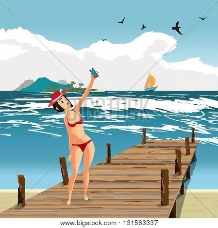 Brunette woman dressed in red swimsuit and hat is standing on old wooden pier and makes selfie. Girl on the beach in red bikini with smartphone. Vector cartoon flat illustration