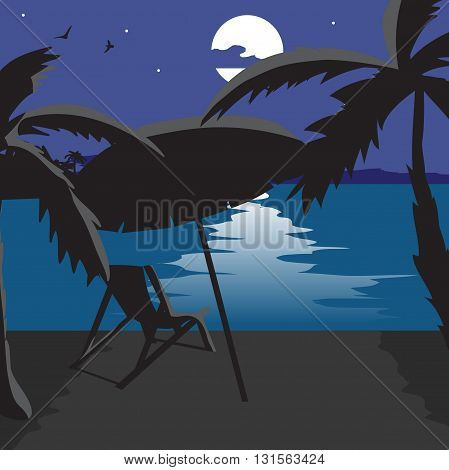 Summer beach landscape at night. Silhouettes of palm trees a beach umbrella chaise in the moonlight. Lunar path on water in summer night vacation. Vector flat cartoon illustration.