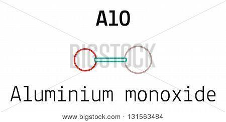 AlO aluminium monoxid 3d molecule isolated on white