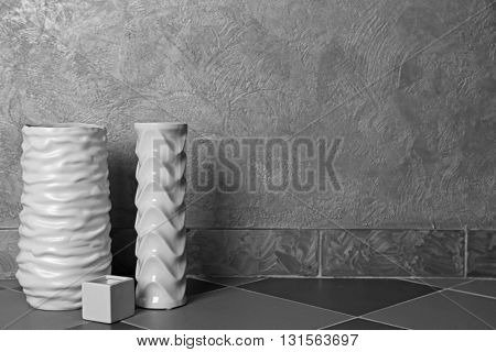 Home decor on grey wall background