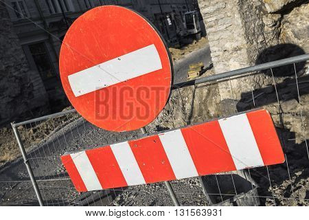 Round Red Sign No Entry On Urban Road Barrier