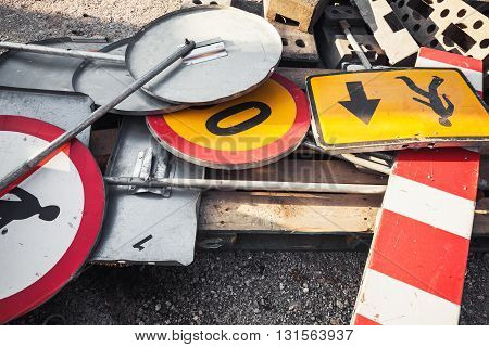 Heap Of Old Used Road Signs