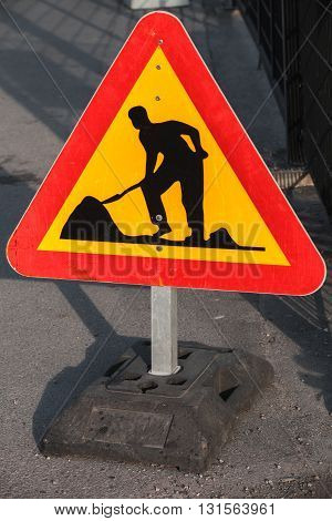Men At Work, Road Under Construction Sign