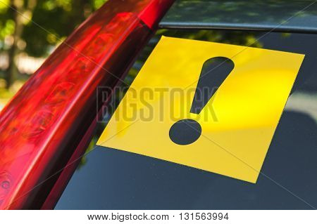 Warning Yellow Sticker With Exclamation Sign