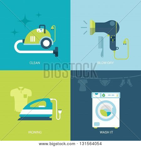 Flat design vector illustration home electronics