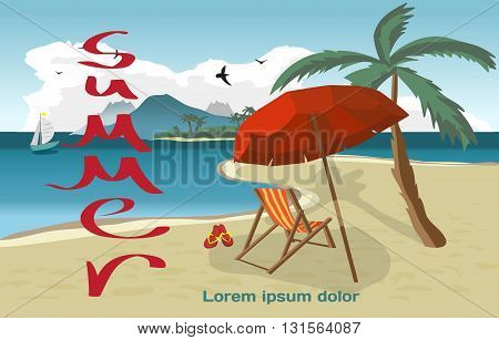 Summer vacation concept background with space for text. Vector cartoon flat illustration. Sea landscape summer beach palms and a private beach.