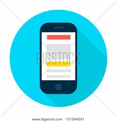 Mobile Phone Landing Page Сircle Icon. Vector Illustration Flat Style Round Icon with Long Shadow. Electronic Gadget.