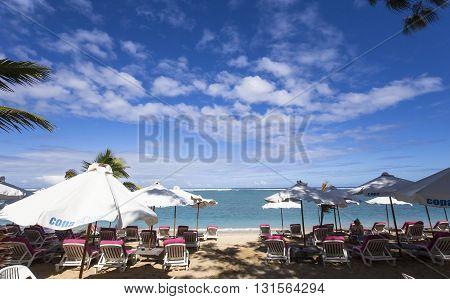 LA SALINE LA REUNION FRANCE MAY 02 : La Saline beach La Reunion island Indian Ocean may 02 2016 in Saint Gilles La Reunion France