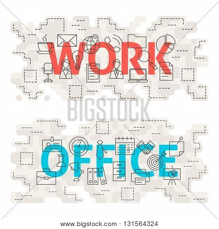 Work Office Line Art Concept