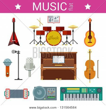 Flast design vector template musical instruments