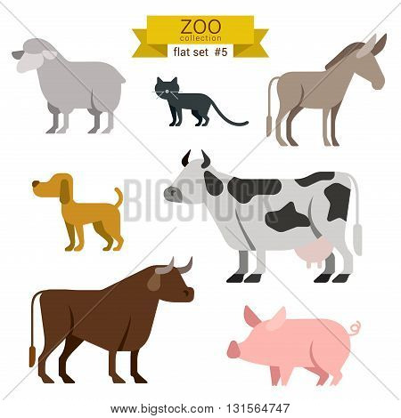 Flat design vector animals icon set farm cow pig