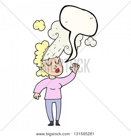 freehand drawn speech bubble cartoon woman letting off steam