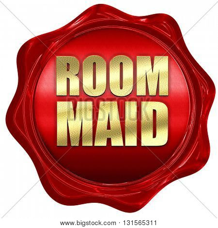 room maid, 3D rendering, a red wax seal