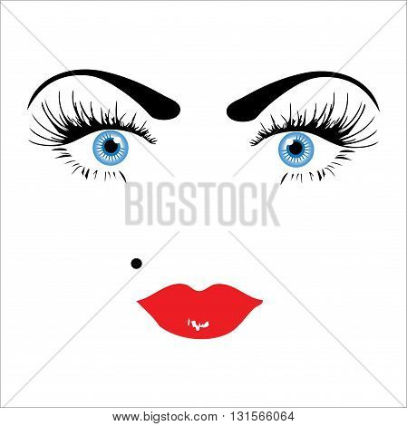 Hollywood diva's look concept, vector on white background. Portrait of fashionable girl, looks like iconic pop star Madonna.  Superstar style. Close up.