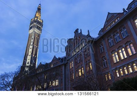 Belfry of the Town Hall in Lille in France in the evening