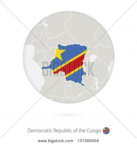 Map Of Democratic Republic Of The Congo And National Flag In A Circle.