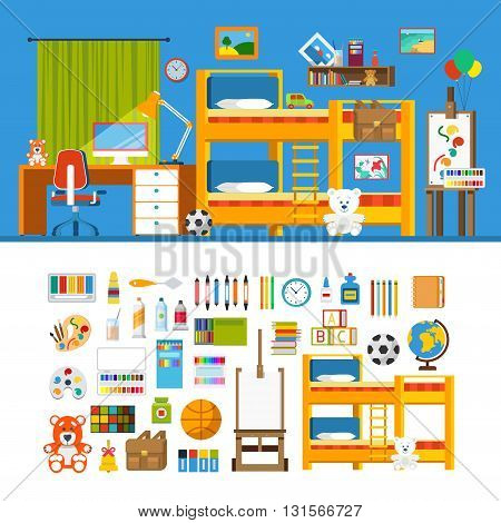 Children room constructor mockup template vector icon set