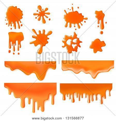 Orange splash spot of paint design vector concept icon set.