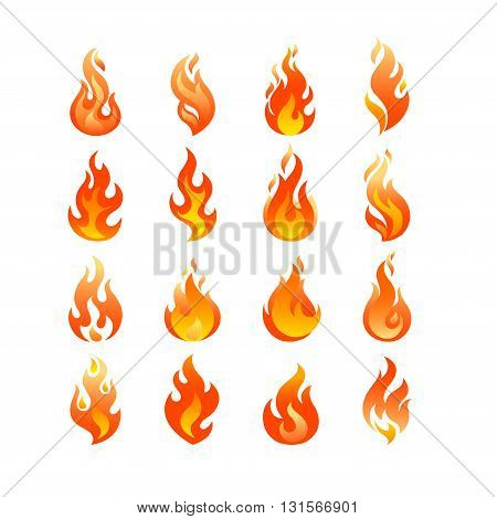 Red Burning Fire Flame Logo set design vector template