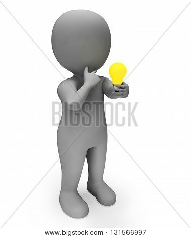 Lightbulb Idea Indicates Power Source And Character 3D Rendering