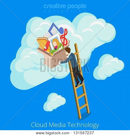 Cloud media technology concept web site vector illustration