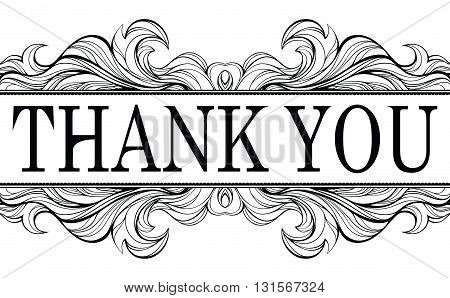 Thank you vintage message with antique frame design element isolated on white background