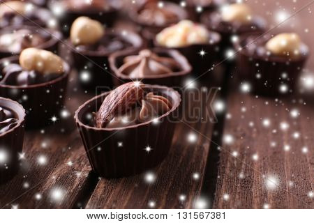 Chocolate sweets with snow effect