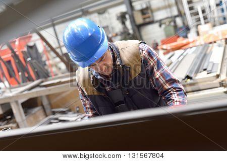 Man working in steelwork factory