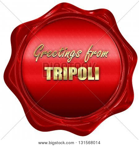 Greetings from tripoli, 3D rendering, a red wax seal