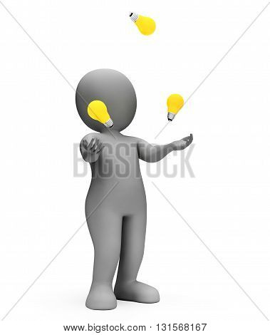 Juggle Lightbulbs Means Power Source And Agility 3D Rendering