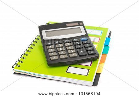 calculator with notepad and pencil isolated on white background