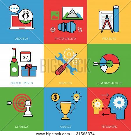 Business cycle site concept vector set Line art color image
