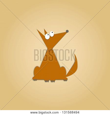 Flat dog pet and sitting cute dog vector. Flat dog animal pet vector illustration. Home cute sitting dog flat style.