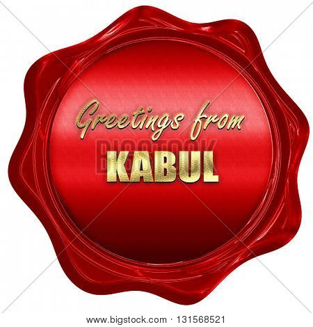 Greetings from kabul, 3D rendering, a red wax seal