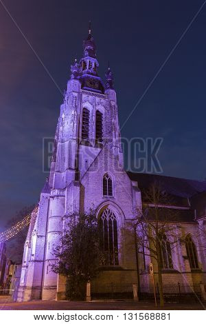 St. Martin's Church during Christmas in Kortrijk in Belgium
