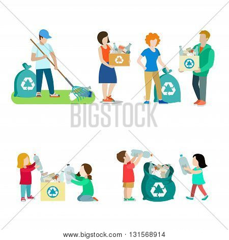 Family life recycling creative vector icon set. People collect plastic paper box bag illustration