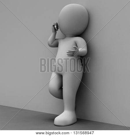 Character Call Means Telephone Illustration And Conversation 3D Rendering