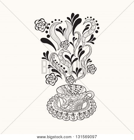 Vector coffee or herbal tea cup with abstract ornaments. Cup Hand drawn illustration for coloring book for adult in zentangle doodle style.