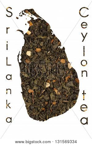 Ceylon map shape made of green tea leaves with citrus and fruits