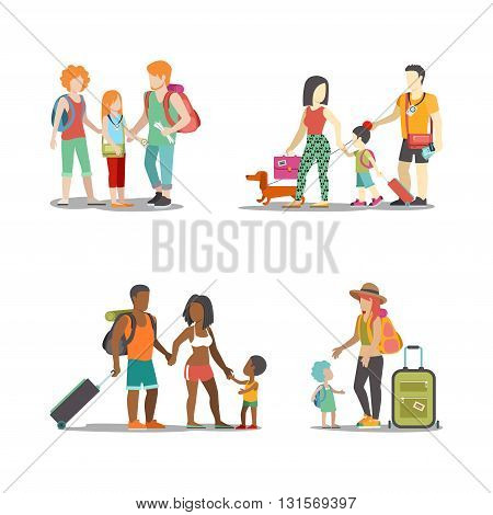 Family vacation people icon set holiday web vector illustration