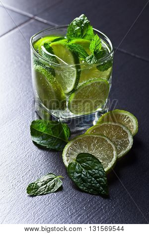 Cocktail With Lime And Peppermint Leaves