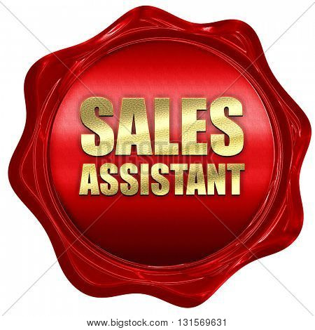 sales assistant, 3D rendering, a red wax seal