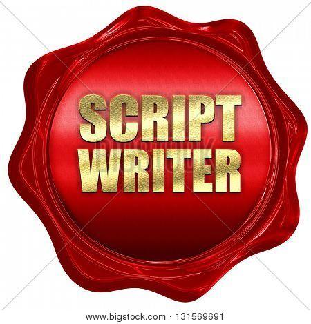 script writer, 3D rendering, a red wax seal