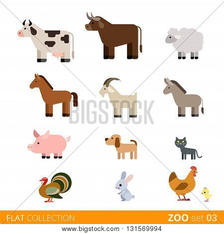 Flat vector icon wild farm domestic animal cartoon collection